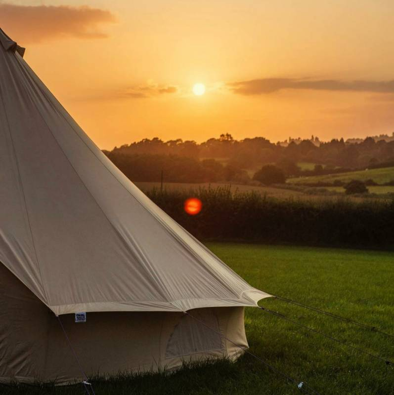 Rolling Fields Glamping has rolling views to match the name.