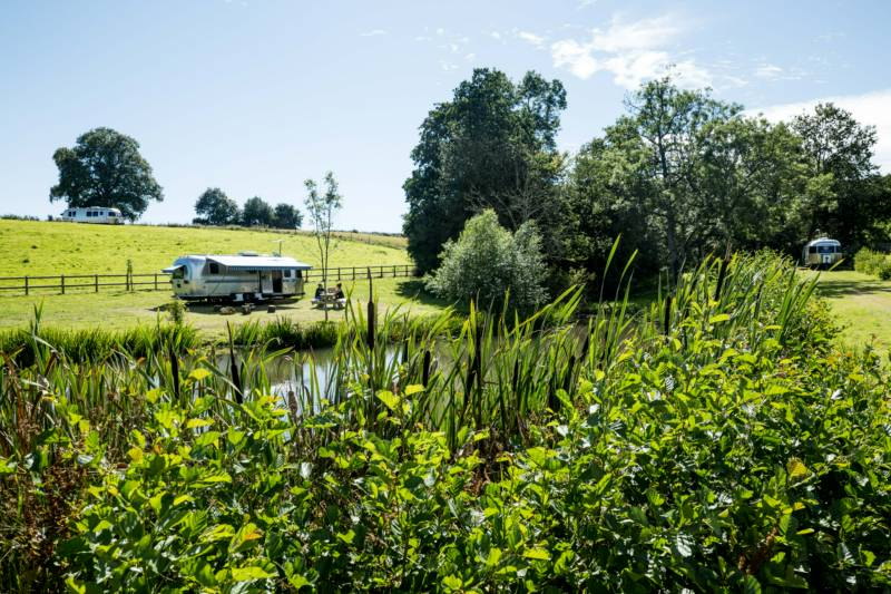 Luxury Airstream glamping beside a pond.