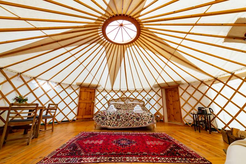 The luxury en suite yurts at Walnut Farm Glamping are airy and comfortable.