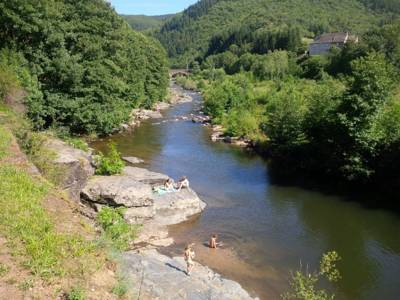 Riverside camping in the beautiful Cévennes National Park, Southern France.