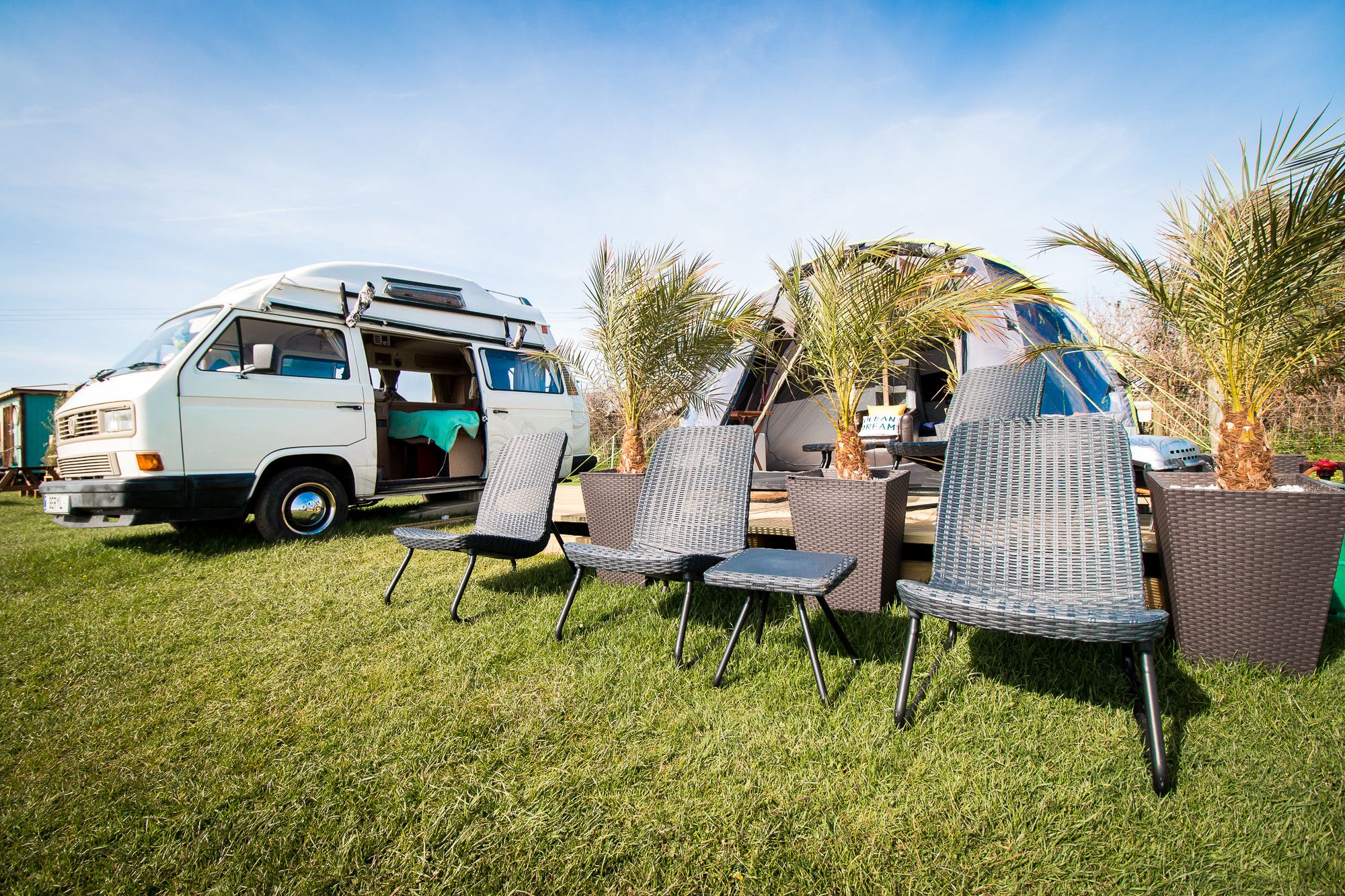 A range of glamping options on the Gower peninsular and just a short drive from the coast.