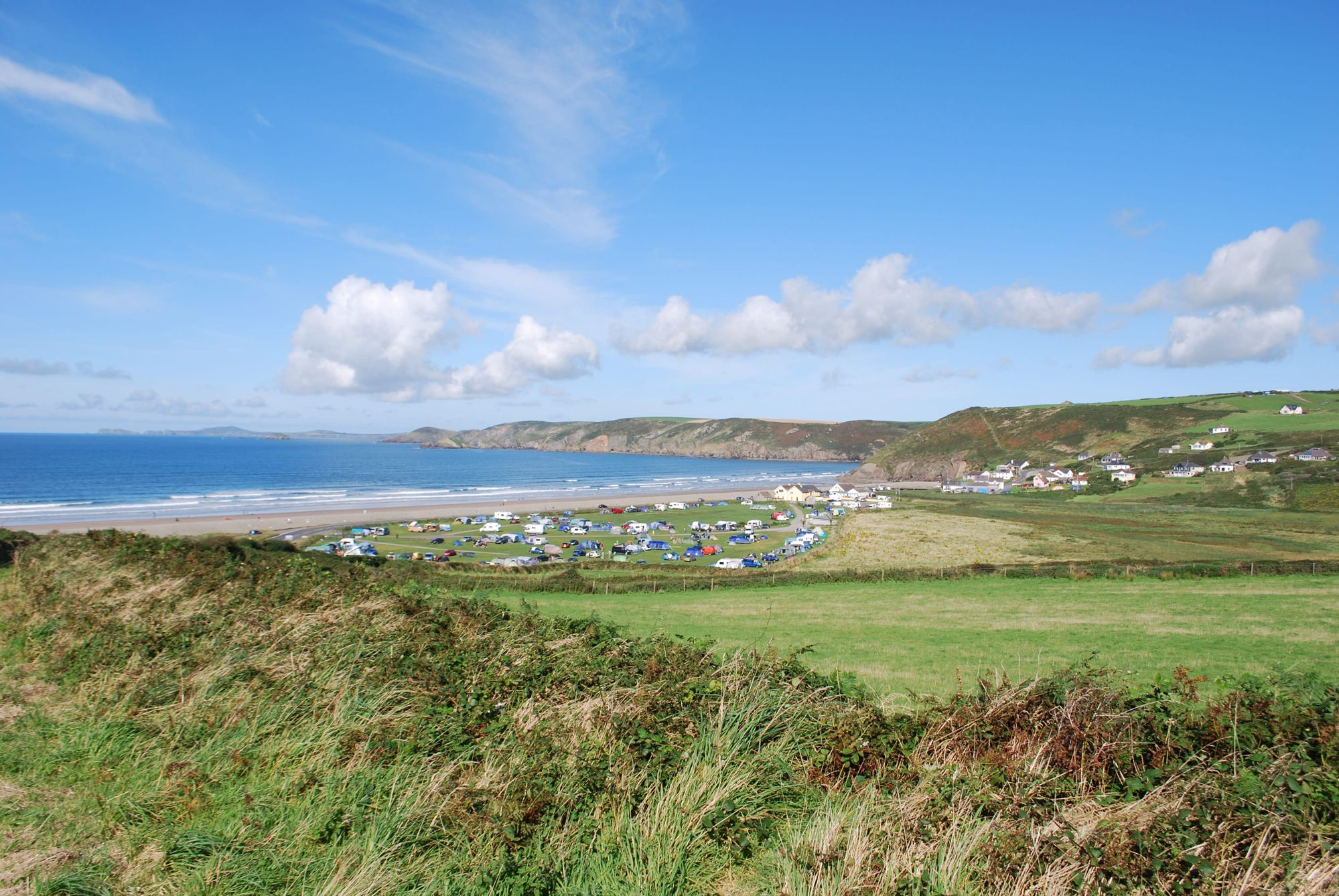 Camping next to one of Pembrokeshire's best surfing beaches.