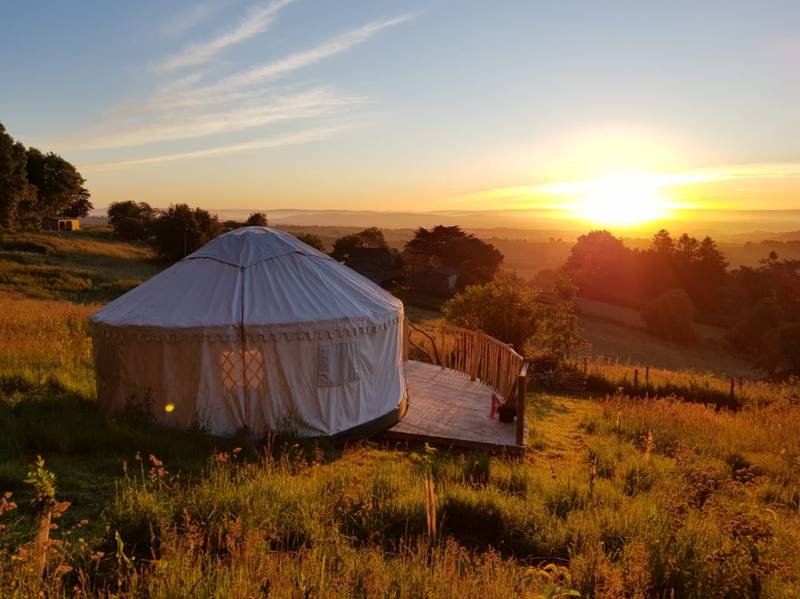 Yurt glamping on a hill-top Devon farm